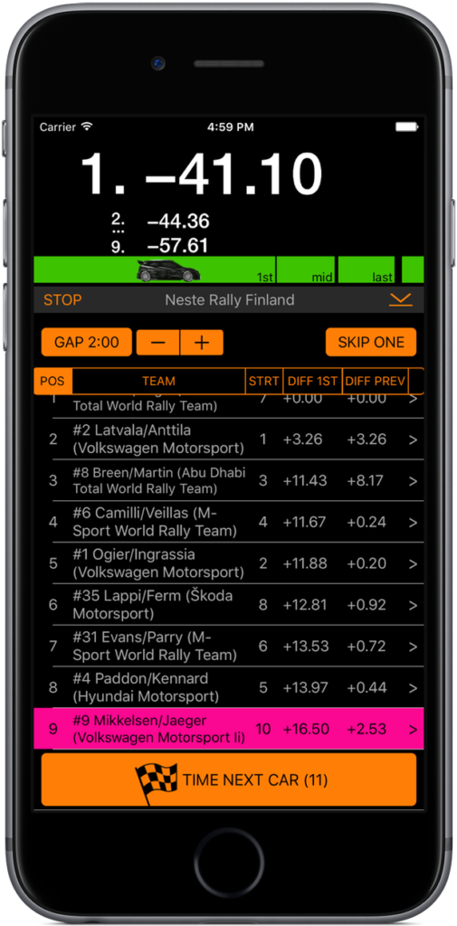 RallyTime Pro - Rally Car Stopwatch App for Spectators - Alternative night color scheme